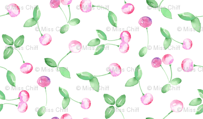 Watercolor Cherry Fruit pastel Pink Green Summer Food  on White_Miss Chiff Designs