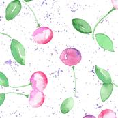 Cherry Fruit Watercolor Purple Grunge_Miss Chiff Designs
