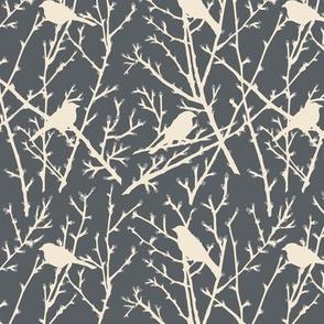 branchy bird - grey/sand