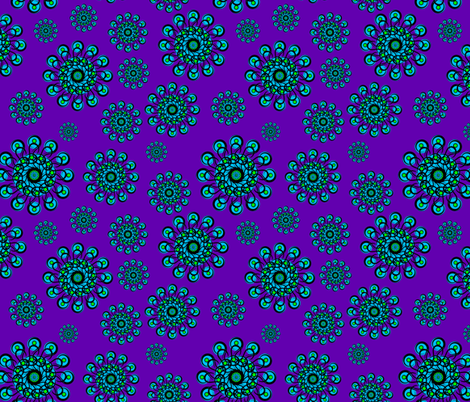 Black-n-Green-n-Turquoise_Rosette_Pattern fabric by stradling_designs on Spoonflower - custom fabric