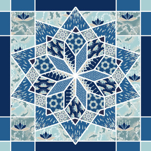 Star Quilt Squares in Blue and Aqua, Wholecloth Quilt by Amborela