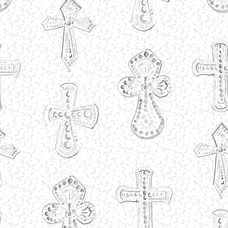 Large Watercolor Crosses on White Polka dot  || Neutral Gray Grey  Religious Christian Jesus _Miss Chiff Designs fabric by misschiffdesigns on Spoonflower - custom fabric