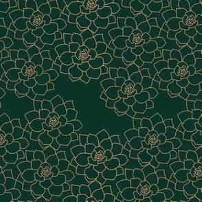 Small Succulent Background (light terracotta on dark green)
