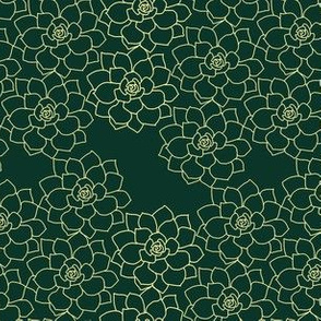 Small Succulent Background (yellow on dark green)