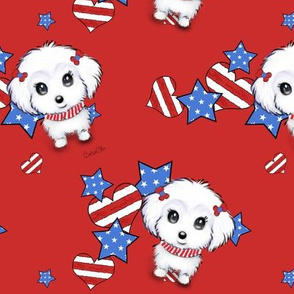 Patriotic Maltese girl red M