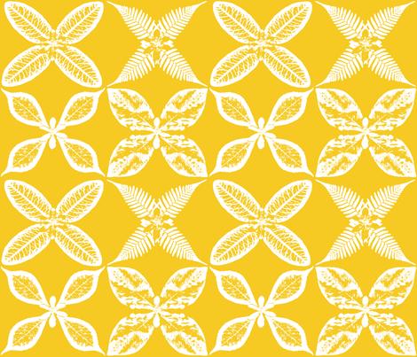 leaf x pattern yellow fabric by mypetalpress on Spoonflower - custom fabric