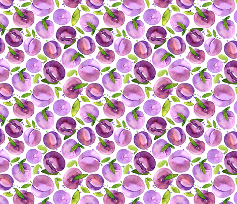 Watercolor plums fabric by graphicsdish on Spoonflower - custom fabric