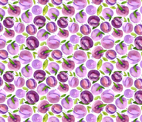 Watercolor plums fabric by peachbloom on Spoonflower - custom fabric