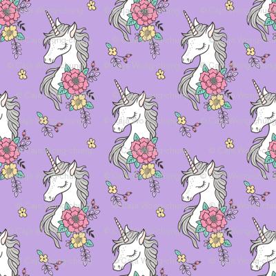 Dreamy Unicorn & Vintage Boho Flowers on Purple