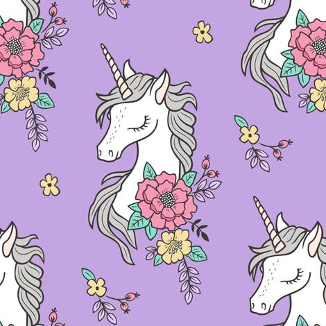 Dreamy Unicorn & Vintage Boho Flowers on Purple fabric by caja_design on Spoonflower - custom fabric