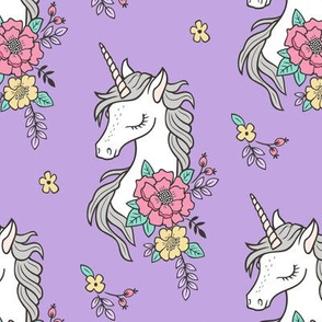 Dreamy Unicorn & Vintage Boho Flowers on Purple