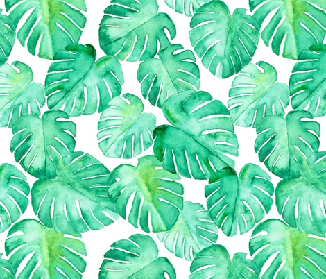 watercolor monstera leaf fabric by littlearrowdesign on Spoonflower - custom fabric