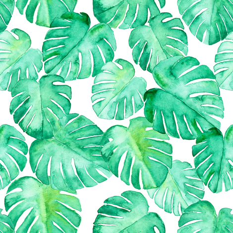 (small scale) watercolor monstera leaf fabric by littlearrowdesign on Spoonflower - custom fabric
