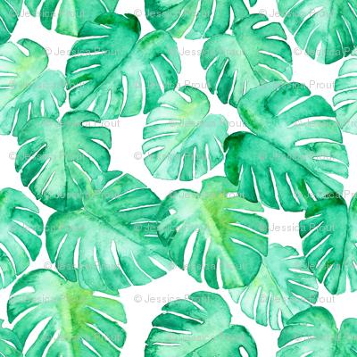 (micro print) watercolor monstera leaf
