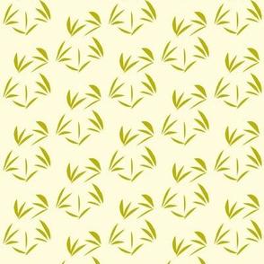Green Tea Oriental Tussocks on Magnolia Cream - Small Scale