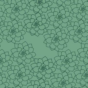 Small Succulent Background (dark green on sage)