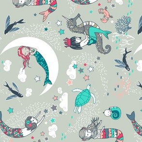Mermaid Lullaby (aqua + coral) SMALL railroad