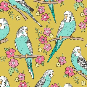 Budgie Birds With Blossom Flowers on Gold Yellow Mustard