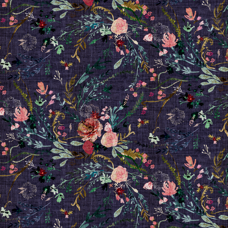 Fable Floral (grape) SMALL fabric by nouveau_bohemian on Spoonflower - custom fabric