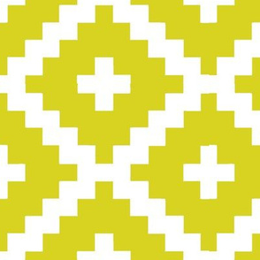 Yellow and White Block Pattern