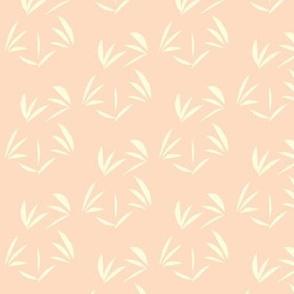 Magnolia Cream Tussocks on Pinky Peach - Medium Scale