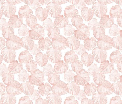 (small scale) watercolor monstera leaf - dusty pink fabric by littlearrowdesign on Spoonflower - custom fabric
