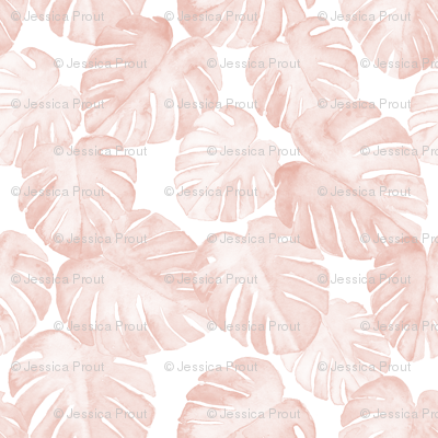 watercolor monstera leaf - dusty pink