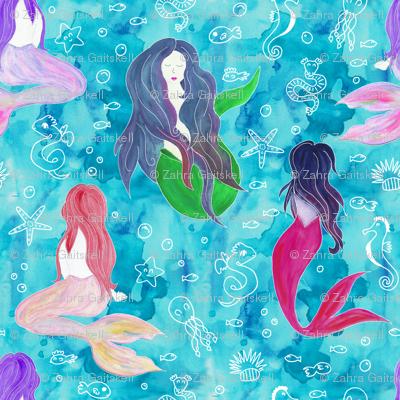 Beautiful Watercolor Mermaids