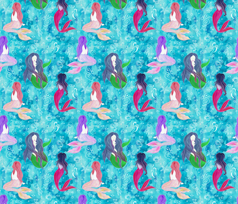 Beautiful Watercolor Mermaids fabric by suzzincolour on Spoonflower - custom fabric