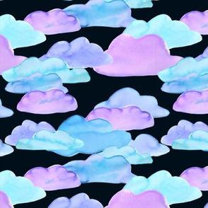 Watercolor Clouds (black)