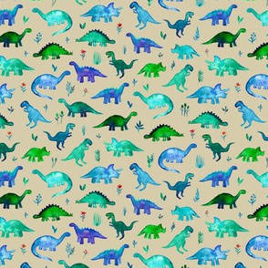Extra Tiny Dinos in Blue and Green on Tan