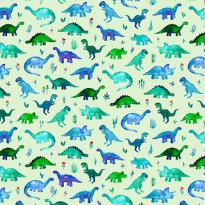 Extra Tiny Dinos on light mint green