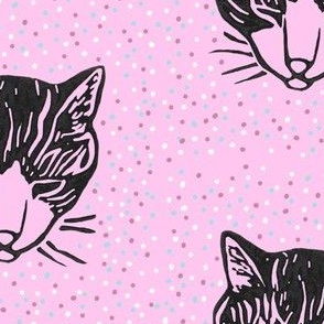 Sleepy Cat Spotty Pattern