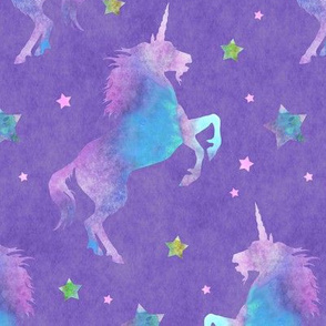 Unicorns Purple and Pink Stars