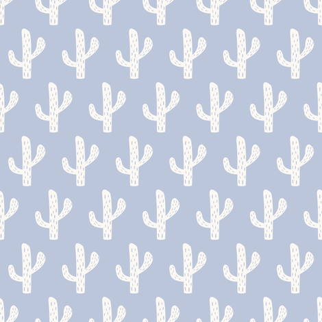 Cactus, demin fabric by michellegracedesign on Spoonflower - custom fabric