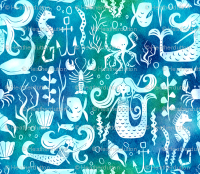 Under The Sea - Nautical Mermaid Watercolor Blue
