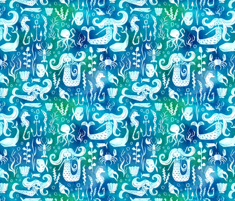 Under The Sea - Nautical Mermaid Watercolor Blue fabric by heatherdutton on Spoonflower - custom fabric