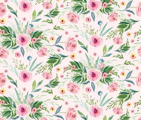 Patterns of peach flowers & roses fabric by nadispasibenko on Spoonflower - custom fabric