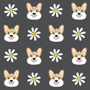 corgi floral fabric flower child daisy fabric corgis dog design  - charcoal