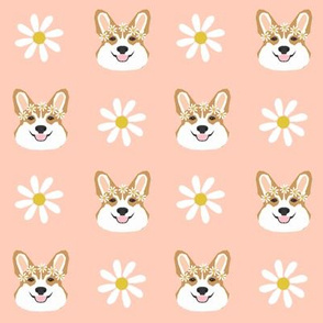 corgi floral fabric flower child daisy fabric corgis dog design - blush