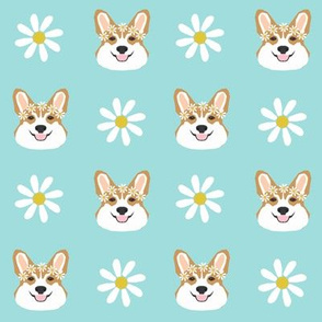 corgi floral fabric flower child daisy fabric corgis dog design - light blue