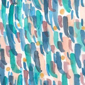 Pulled Watercolor Abstract // whimsical ditsy watercolor abstract painting lines dots playful fabric