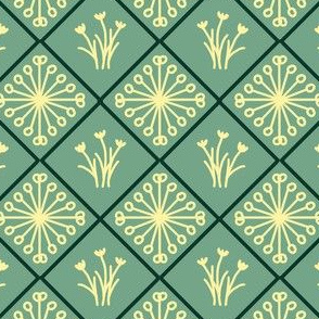 Star and Flower Diamonds (sage)