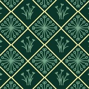 Star and Flower Diamonds (dark green)