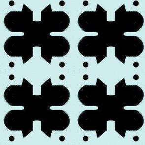 4 Leaf - black on seafoam