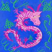 Fantasy Creatures: Pink Watercolour Dragons