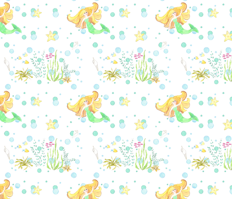 Mermaid and Bubbles Under The Sea fabric by dreamoutloudart on Spoonflower - custom fabric