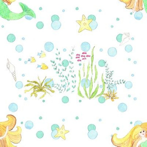 Mermaid and Bubbles Under The Sea