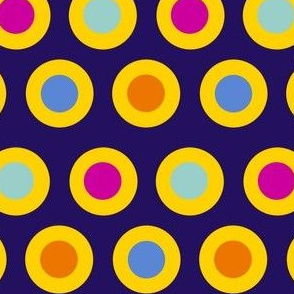 dots (gold on purple)