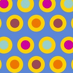 Dots (gold on mid blue)